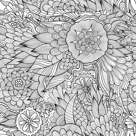 hand drawn flower: Beautiful abstract decorative floral ornamental seamless pattern Illustration