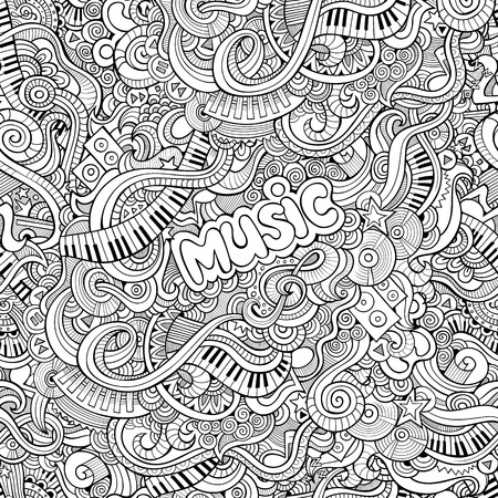 notes music: Cartoon hand drawn Doodles on the subject of music seamless pattern. Sketchy background Illustration