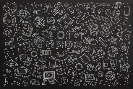 Chalkboard hand drawn Doodle cartoon set of objects and symbols on the photo theme