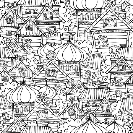 russian: Cartoon fairy tale drawing russian village. Sketchy seamless pattern