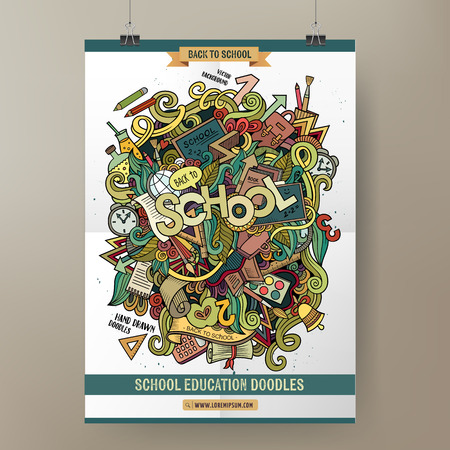 advertising logo: Doodles cartoon colorful School hand drawn illustration