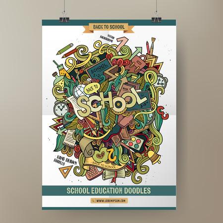 Doodles cartoon colorful School hand drawn illustration