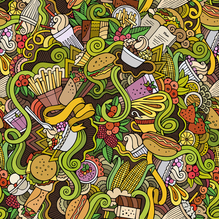 cartoon berries: Cartoon hand-drawn Doodles on the subject of fast food and sweets seamless pattern