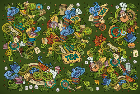 tea plantation: Tea time doodles hand drawn sketchy symbols and objects