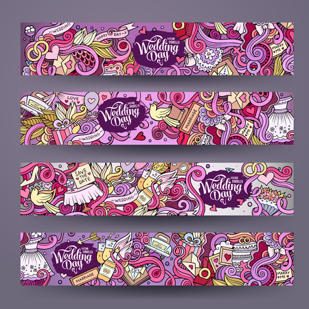 love cartoon: Cartoon hand-drawn Doodle on the subject of wedding. Horizontal banners design templates set Illustration