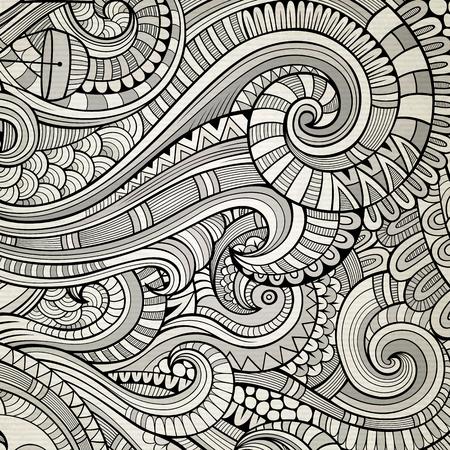 vintage design: Decorative hand drawn nature ornamental ethnic background