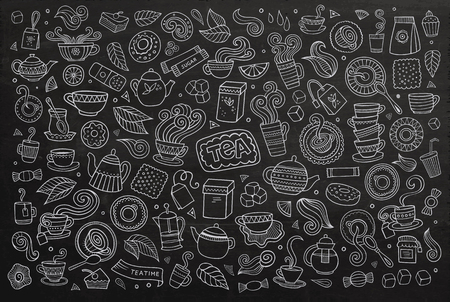 green tea cup: Chalkboard vector hand drawn Doodle cartoon set of objects and symbols on the tea time theme