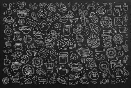 limon caricatura: Pizarra vector de la mano Conjunto de la historieta dibujada Doodle de objetos y símbolos en el tiempo el tema del té