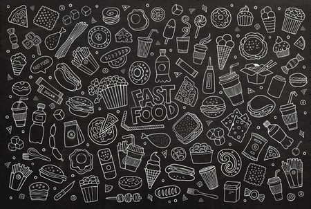 fry: Fast food doodles hand drawn colorful vector symbols and objects. Chalkboard background