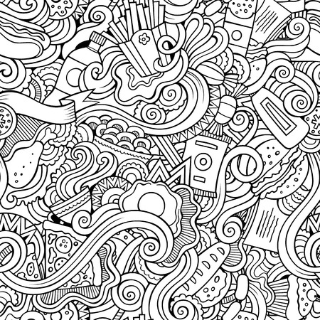 burger cartoon: Cartoon vector hand-drawn Doodles on the subject of fast food seamless pattern. Sketchy background Illustration