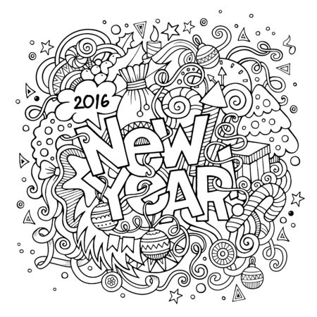 sketchy illustration: New year hand lettering and doodles elements background. Vector sketchy illustration