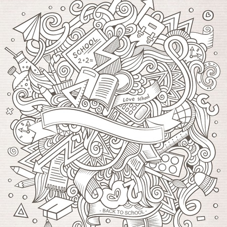 subject: Cartoon vector hand-drawn Doodle on the subject of education. Sketchy design background with school objects and symbols. Illustration