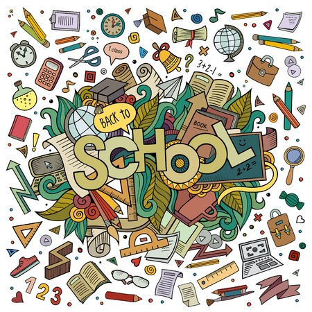 School cartoon hand lettering and doodles elements background. Vector illustration
