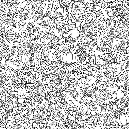 corn flower: Cartoon vector hand-drawn Doodles on the subject of Thanksgiving autumn symbols, food and drinks seamless pattern. Color background Illustration