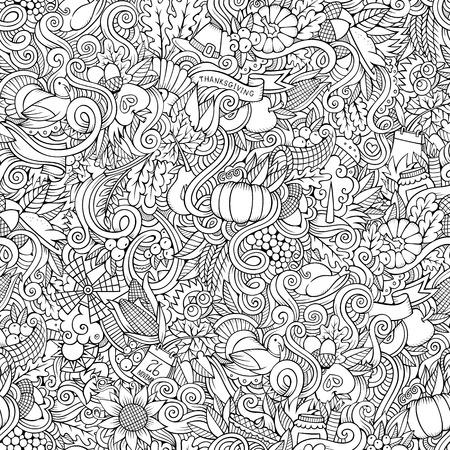 elote caricatura: Doodles vector de la historieta dibujada mano-sobre el tema de Acción de Gracias símbolos otoño, comida y bebidas sin patrón. Fondo del color