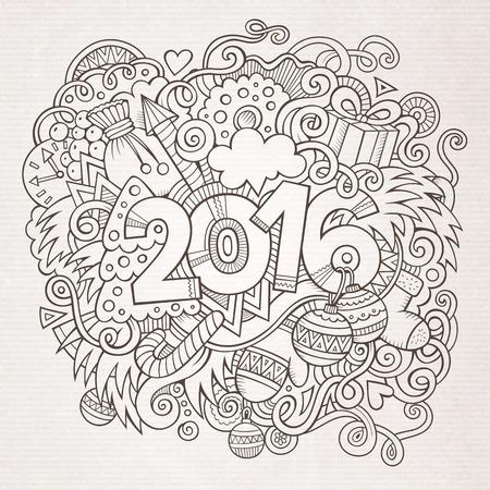 ilustracion: 2.016 nuevos elementos de letras a�os mano y doodles fondo