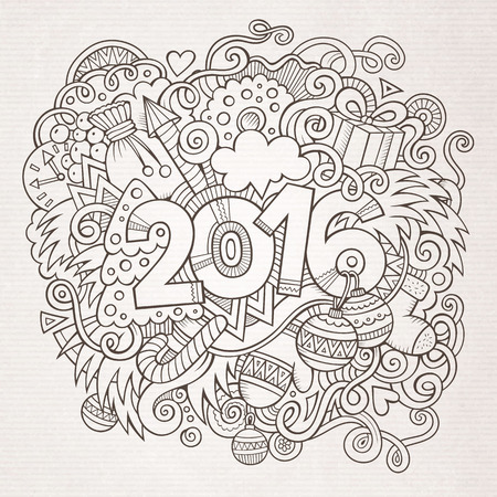 doodle: 2016 New year hand lettering and doodles elements background