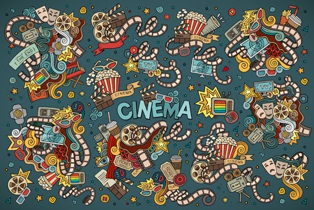 action: Colorful hand drawn Doodle cartoon set of objects and symbols on the cinema theme Illustration