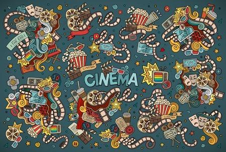 Kleurrijke hand getekende cartoon Doodle set van objecten en symbolen op de bioscoop thema Stock Illustratie