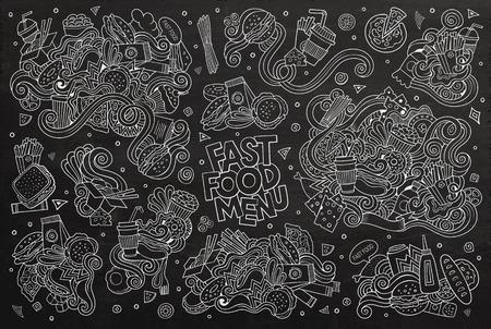 comida rapida: Garabatos Comida rápida dibujado a mano símbolos y objetos de colores
