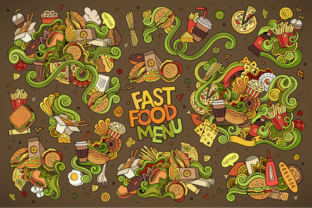 Fast food doodles hand drawn colorful symbols and objects Illustration