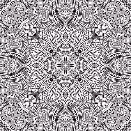 vitrage: Abstract decorative ethnic hand drawn sketchy contour seamless pattern
