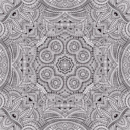 cultura maya: Mano étnica decorativo abstracto contorno esquemático dibujado patrón transparente