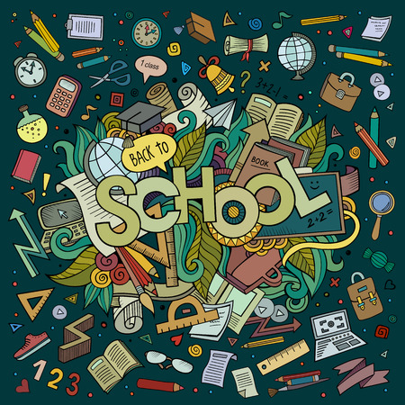 pen cartoon: School cartoon hand lettering and doodles elements background Illustration