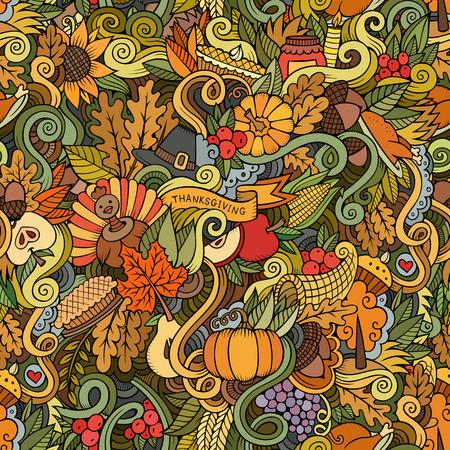 Cartoon hand getekende doodles op het onderwerp van Thanksgiving herfst symbolen