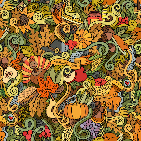 Cartoon hand-drawn Doodles on the subject of Thanksgiving autumn symbols