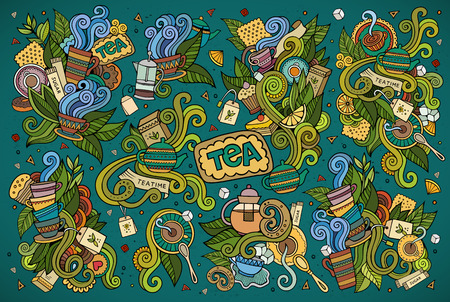plant to drink: Tea time doodles hand drawn sketchy symbols and objects