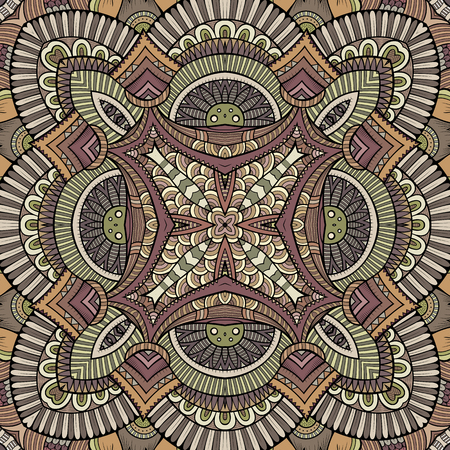 vitrage: Abstract vector decorative ethnic hand drawn color vintage seamless pattern
