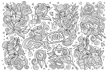 tea time: Tea time doodles hand drawn sketchy vector symbols and objects