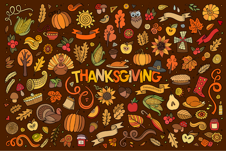 cornucopia: Colorful vector hand drawn Doodle cartoon set of objects and symbols on the Thanksgiving autumn theme