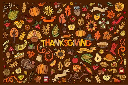 cuerno de la abundancia: Colorido vector de la mano Conjunto de la historieta dibujada Doodle de objetos y símbolos en el tema del otoño de Acción de Gracias