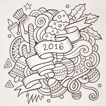 sketchy illustration: 2016 New year doodles elements background. Vector sketchy illustration