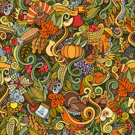 pumpkin pie: Cartoon vector hand-drawn Doodles on the subject of Thanksgiving autumn symbols, food and drinks seamless pattern. Color background Illustration