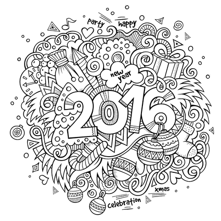 sketchy illustration: 2016 New year hand lettering and doodles elements background. Vector sketchy illustration