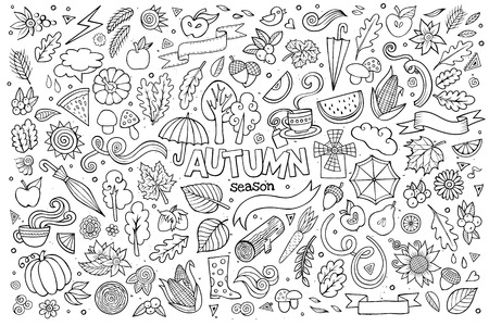 Sketchy vector hand drawn Doodle cartoon set of objects and symbols on the autumn theme Çizim