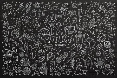 秋をテーマにシンボルやオブジェクトの黒板ベクトル手描き落書き漫画セット