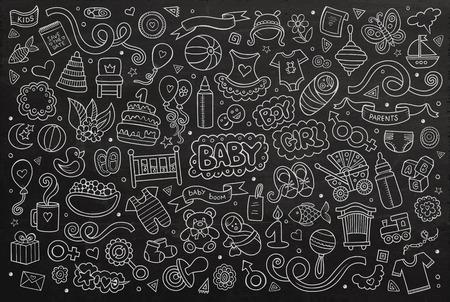 bebe a bordo: Pizarra vector de la mano Conjunto de la historieta dibujada Doodle de objetos y símbolos en el tema del bebé Vectores