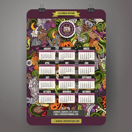 calendario: Dibujo animado colorido dibujado de Halloween dise�o de a�o Doodles mano Calendario 2016, inicio Ingl�s, Domingo. Vectores