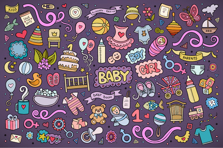 newborn baby mother: Colorful vector hand drawn Doodle cartoon set of objects and symbols on the baby theme Illustration