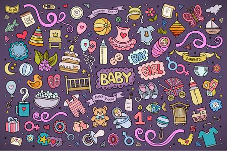 congratulations: vector de la mano de colores conjunto de dibujos animados Doodle dibujado de objetos y símbolos en el tema del bebé Vectores