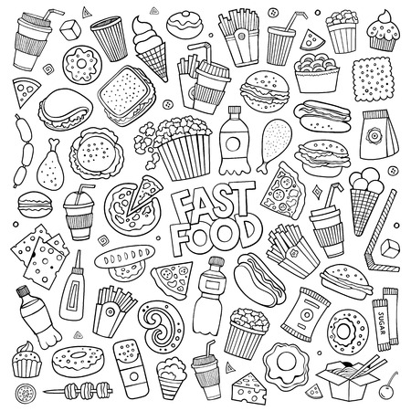 ham sandwich: Sketchy vector hand drawn Doodle cartoon set of objects and symbols on the fast food theme