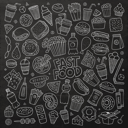 chalk board: Chalkboard vector hand drawn Doodle cartoon set of objects and symbols on the fast food theme