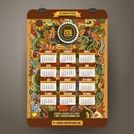 calabaza caricatura: Doodles dibujados a mano de dibujos animados de colores de Acci�n de Gracias Calendario 2016 Dise�o del A�o, inicio Ingl�s, domingo. Vectores