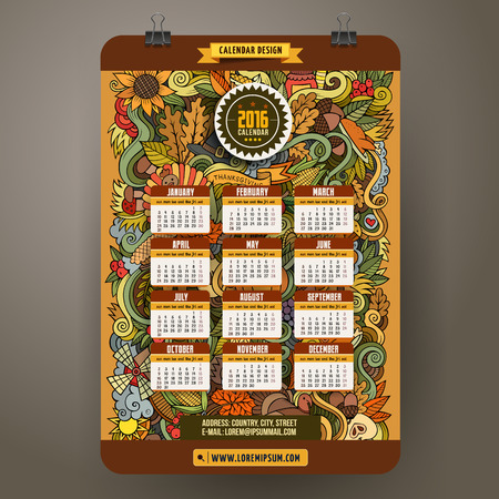 elote caricatura: Doodles hand drawn colorful cartoon Thanksgiving Calendar 2016 year design, English, Sunday start.