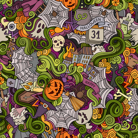 fruit cartoon: Cartoon vector hand-drawn Doodles on the subject of Halloween symbols, food and drinks seamless pattern. Colorful background Illustration