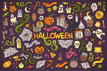 hand drawn cartoon: Colorful vector hand drawn Doodle cartoon set of objects and symbols on the Halloween theme